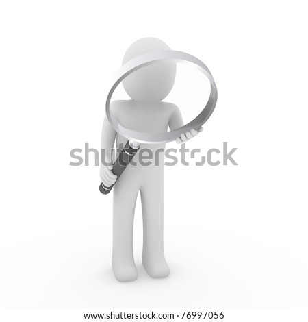 3d man human search magnifying glass lens seek