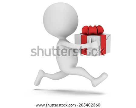 3d man icon running with gift box in his hand. Fast delivery concept. - stock photo