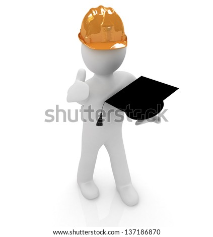 3d man in a hard hat with thumb up presents the best technical education