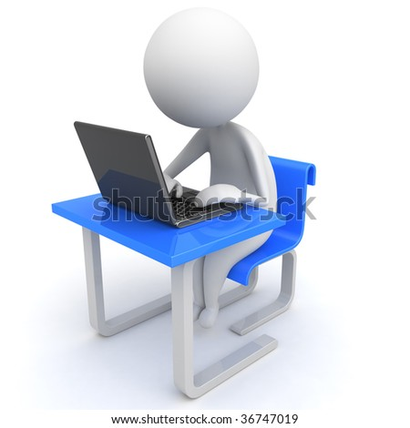 3d man in a modern desk with laptop