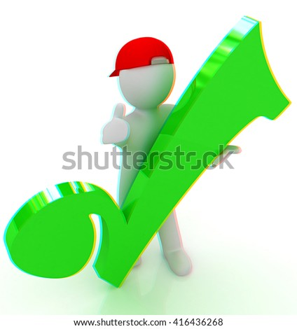 3d man in a red peaked cap with thumb up and a huge tick on a white background. 3D illustration. Anaglyph. View with red/cyan glasses to see in 3D. - stock photo