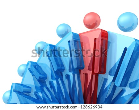 3d man in crowd. Conceptual image of individuality.