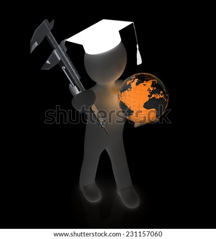 3d man in graduation hat with Earth and vernier caliper on a black background - stock photo