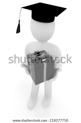 3d man in graduation hat with gift - stock photo
