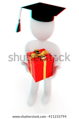 3d man in graduation hat with gift. 3D illustration. Anaglyph. View with red/cyan glasses to see in 3D. - stock photo