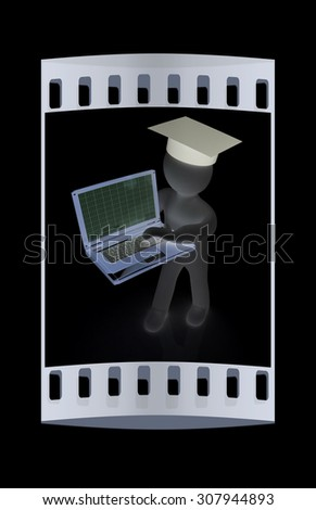 3d man in graduation hat with laptop on a black background. The film strip