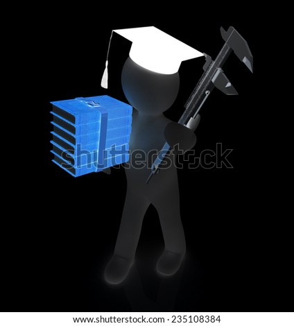 3d man in graduation hat with the best technical educational literature and vernier caliper on a black background - stock photo