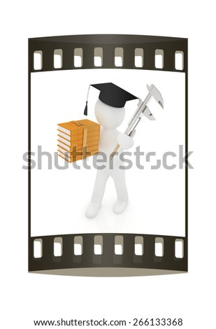 3d man in graduation hat with the best technical educational literature and vernier caliper on a white background. The film strip - stock photo
