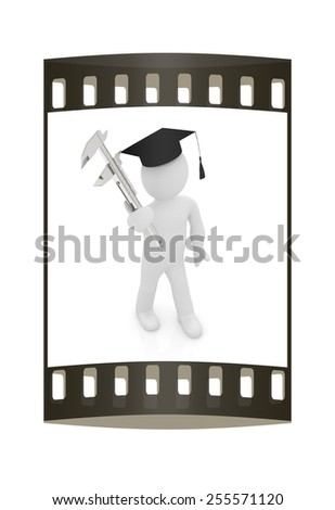 3d man in graduation hat with vernier caliper on a white background. The film strip - stock photo