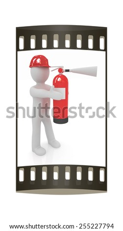 3d man in hardhat with red fire extinguisher on a white background. The film strip - stock photo