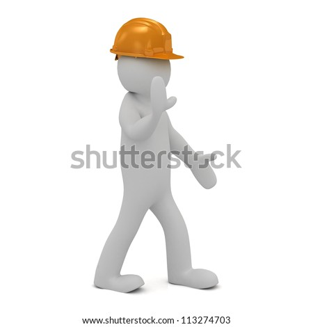 3D man in helmet (Little Human Character) shows a hand that everyone needs to stop