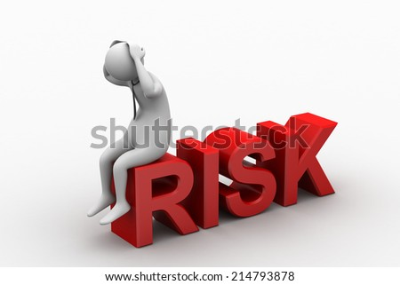 3d man in risk problem - stock photo