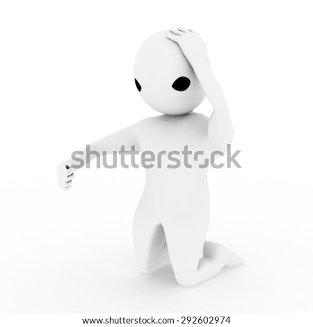 3d man in stress and worried about something illustration side view