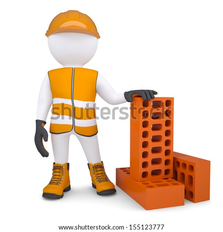 3d man in the form of building with bricks. Isolated render on a white background