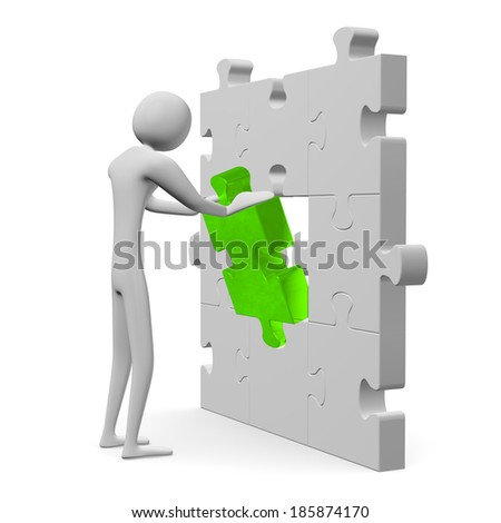 3d man inserting green missing piece in grey vertical puzzle isolated on white