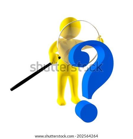 3d man investigates problem with magnifying glass  - stock photo