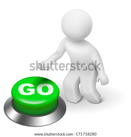 3d man is pushing the GO button isolated white background - stock photo