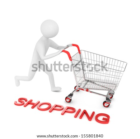 3d man is running with shopping cart - stock photo