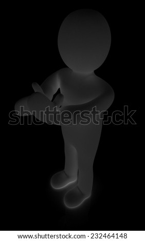 3d man isolated on black. Series: human emotions - clapping - stock photo