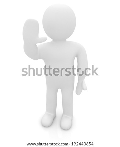 "3d man isolated on white. Series: human emotions - greeting ""Hi"" - stock photo"