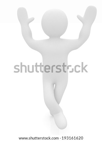 3d man isolated on white. Series: human emotions - having fun - stock photo