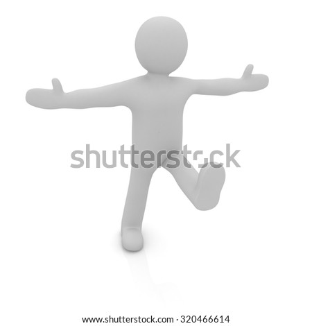 3d man isolated on white. Series: morning exercises - hands in sides and one leg is exposed forward