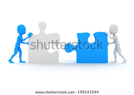 3d man joining two puzzle pieces