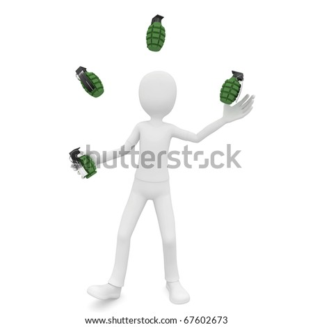 3d man jongleur with grenades isolated on white