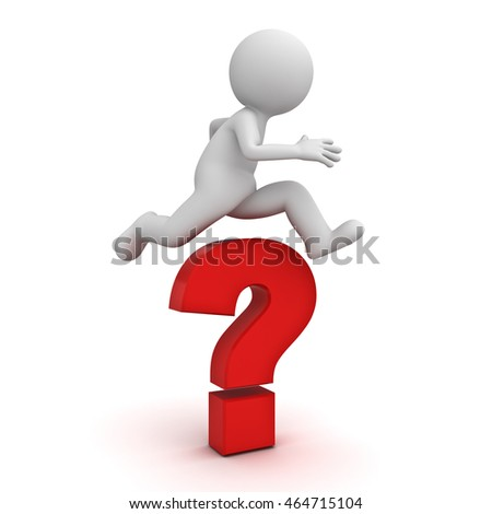 3d man jump over the big red question mark or problem concept isolated over white background with shadow. 3D rendering.