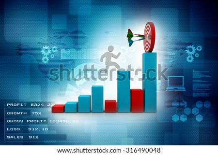 3D Man jumping across the problem to his successful goal on business graph over color  background with reflection - stock photo