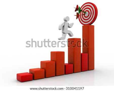 3D Man jumping across the problem to his successful goal on business graph over white background with reflection