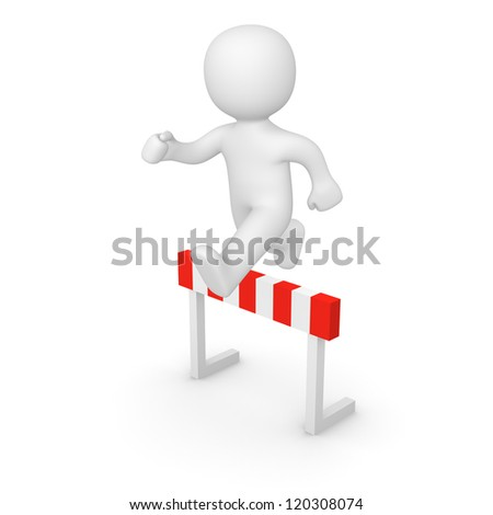 3d man jumping over hurdle. 3d rendering.