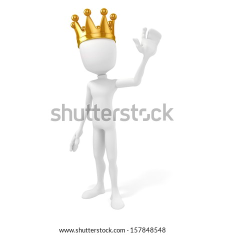 3d man king with a gold crown on white background - stock photo