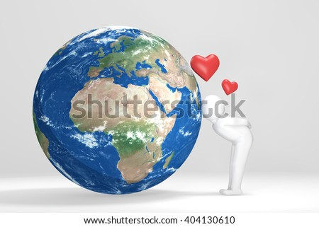 3D man kisses Earth - Europe, Africa, Middle East version - stock photo