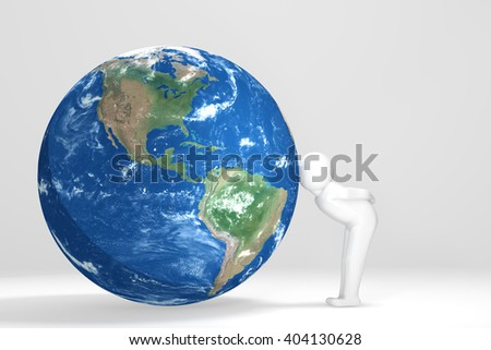 3D man kisses Earth - North and south America version - stock photo
