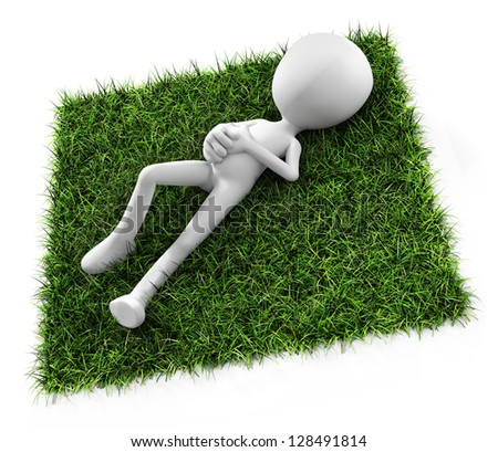 3d man laying down on grass - stock photo