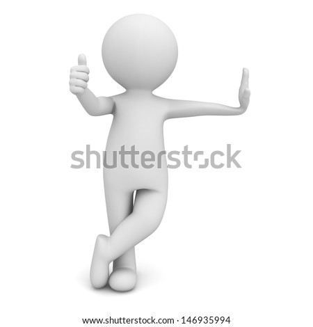 3d man leaning on something and giving thumbs up sign isolated over white background - stock photo