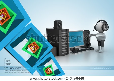 3D Man listening music with music system - stock photo