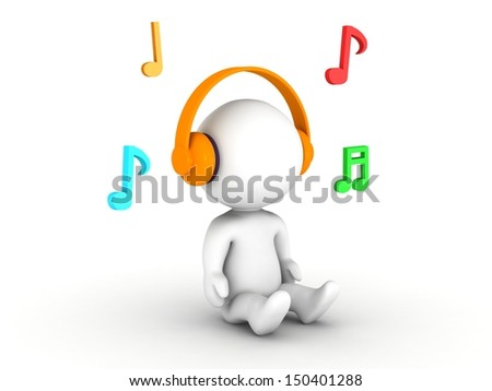 3D Man Listening to Headphones, with Musical Notes - stock photo