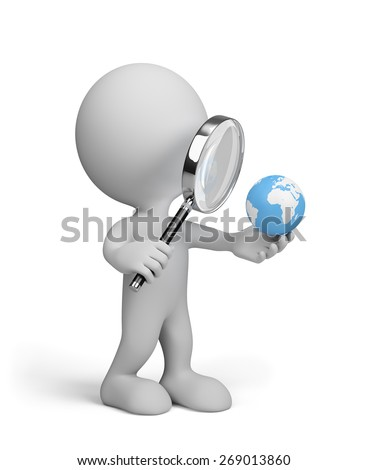 3d man looking at globe through a magnifying glass. 3d image. White background. - stock photo