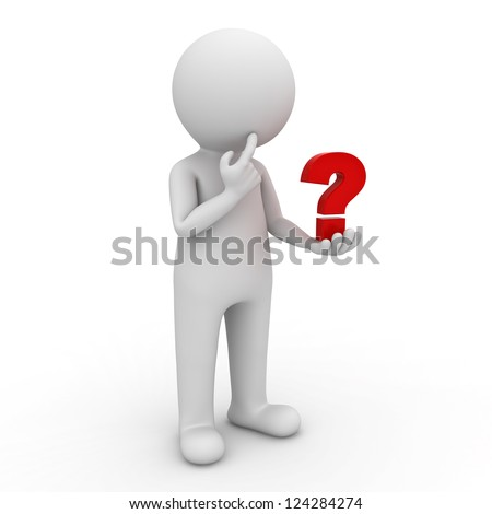 3d man looking at red question mark in his hand and thinking over white background - stock photo