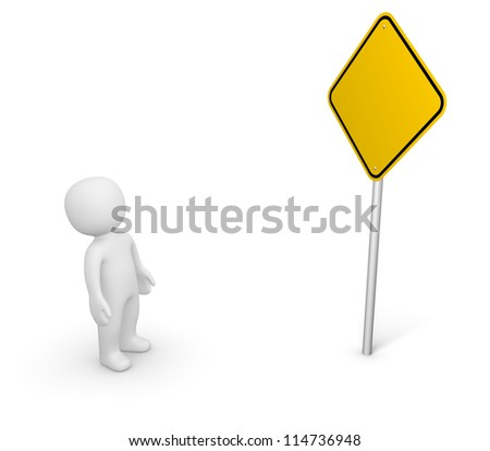 3d man looking at the empty road sign. 3d rendering. - stock photo