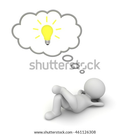 3d man lying down with idea bulb in thinking bubble isolated on white floor background. 3D rendering.