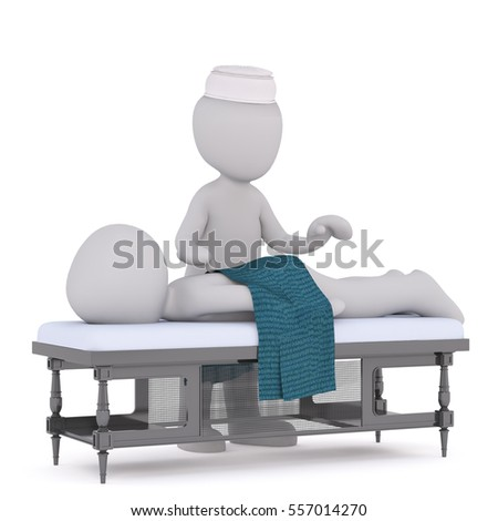 3d man lying on a table having a massage from the masseuse at the spa, rendered illustration