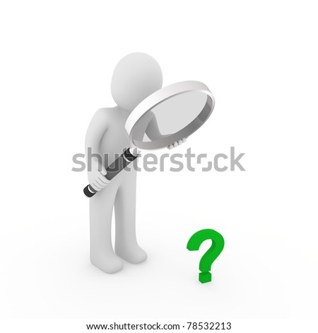 3d man magnifying glass question mark green search - stock photo
