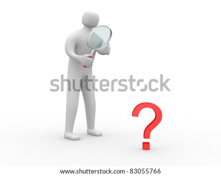 3d man magnifying glass question mark red search. This is a 3d illustration - stock photo