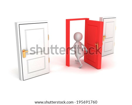 3d man make right choice walk through red door. success concept 3d render illustration - stock photo