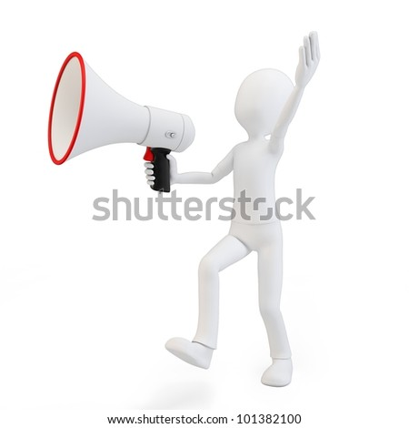 3d man marching with big megaphone on white background
