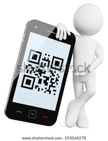 3D Man - Mobile QR codes. Rendered at high resolution on a white background with diffuse shadows. - stock photo