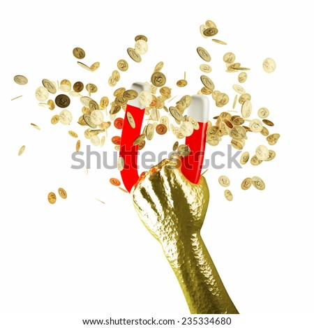 3d man money magnet isolated on white background - stock photo